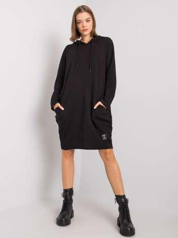 Czarna sukienka z kapturem Aldila