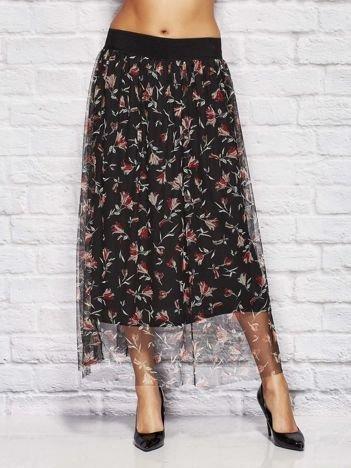 Czarna tiulowa spódnica z motywem kwiatowym