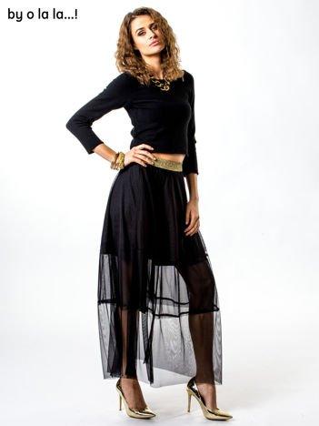 Czarna tiulowa spódnica ze złotym paskiem BY O LA LA