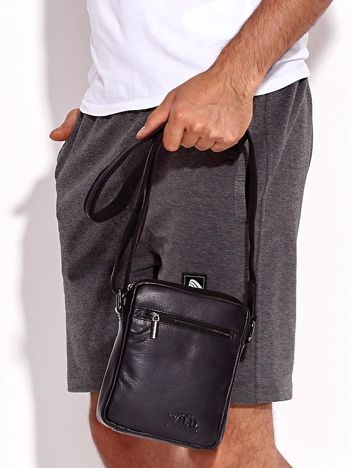 Czarna torba męska skórzana z kieszeniami
