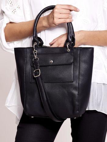 Czarna torba miejska ze skóry ekologicznej