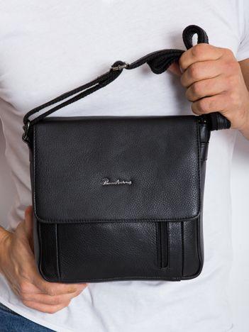 Czarna torebka męska skórzana z klapką