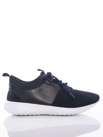Czarne ażurowe buty sportowe z wstawką z eco skóry, na sprężystej podeszwie