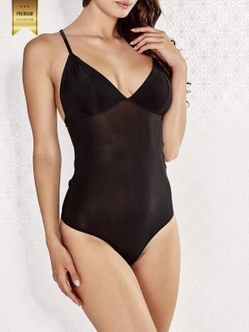 Czarne body damskie z koronkową wstawką na plecach