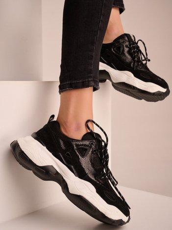 Czarne buty sportowe BIG STAR ze skórzanymi wstawkami