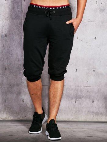 Czarne dresowe szorty męskie ze ściągaczem