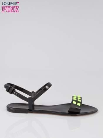 Czarne gumowe sandały meliski Julissa z dżetami