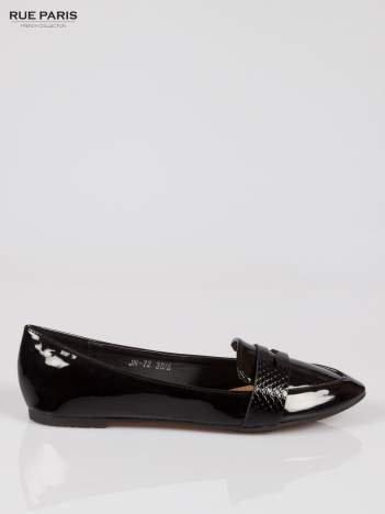 Czarne lakierowane mokasyny penny loafers
