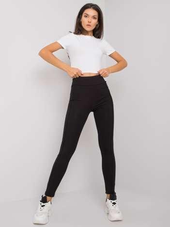 Czarne legginsy damskie z bawełny Ange