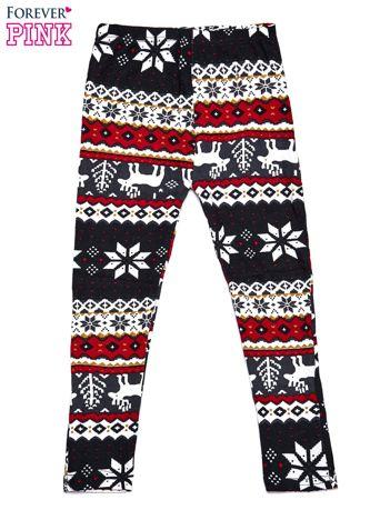Czarne legginsy dziewczęce w śnieżynki i renifery