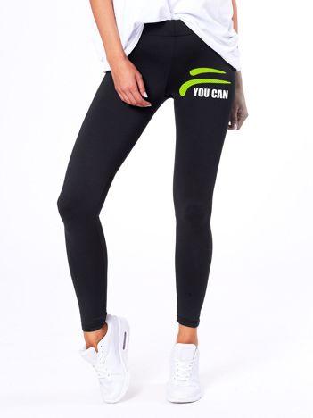 Czarne legginsy z sportowym nadrukiem