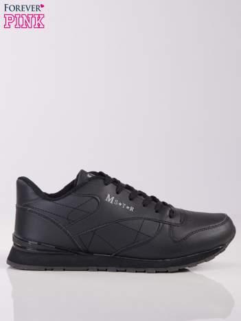 Czarne lekkie buty sportowe na piankowej podeszwie z napisem z boku
