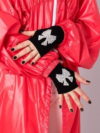 Czarne rękawiczki mitenki z cyrkoniami w kształcie kokardy