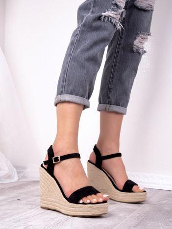 Czarne sandały BELLO STAR na koturnach