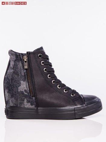 Czarne sneakersy BIG STAR na suwak z wstawką w moro na tyle cholewki