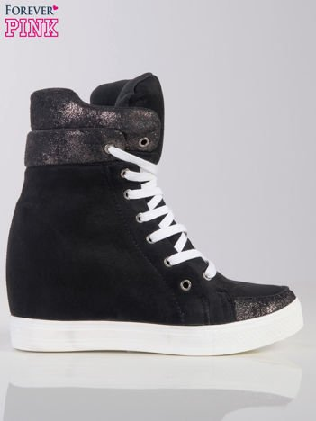 Czarne sneakersy Bennie z białymi sznurówkami z brokatową cholewką za kostkę