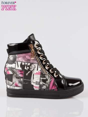 Czarne sneakersy damskie z nadrukiem magazine print Everywhere