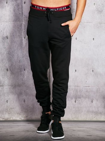 Czarne spodnie dresowe męskie z suwakami