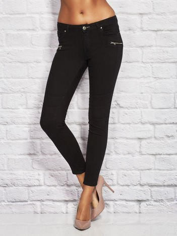 Czarne spodnie skinny z suwakami