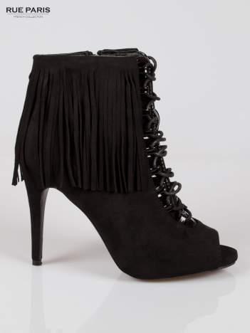Czarne sznurowane botki faux suede Ophelia open toe z frędzlami