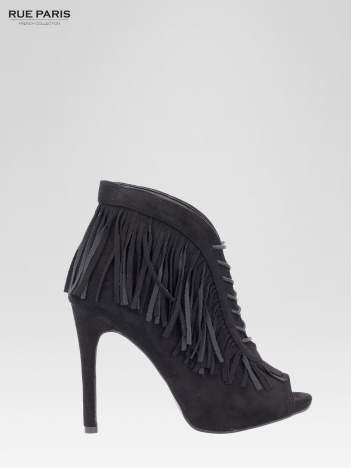Czarne sznurowane botki open toe z frędzlami