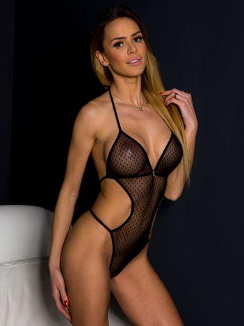 Czarne wiązane z tyłu body erotyczne z wcięciami w talii