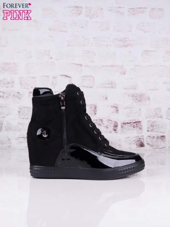 Czarne zamszowe sneakersy Stella z lakierowanymi wstawkami i suwakiem z boku