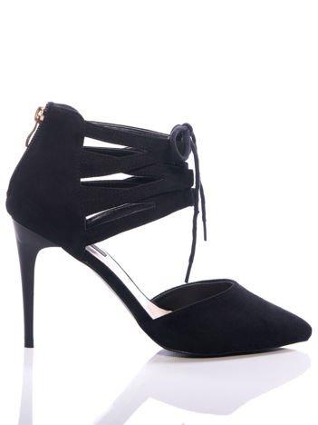 Czarne zamszowe szpilki lace up z wiązaniem