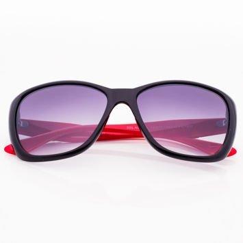 Czarno-Czerwone Damskie Okulary Przeciwsłoneczne