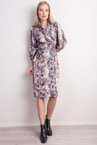 Czarno-beżowa sukienka we wzory BSL