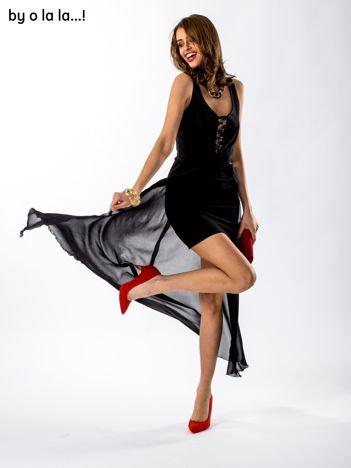 Czarno-beżowa sukienka ze zwiewnym tyłem BY O LA LA