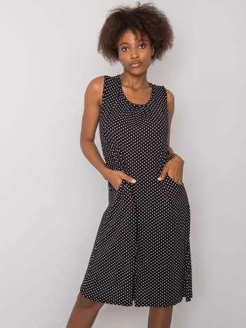 Czarno-biała sukienka w groszki Chanda