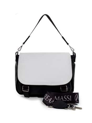 Czarno-biała torebka damska z odpinanym uchwytem