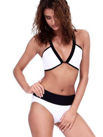 Czarno-biały kostium kąpielowy top i majtki high waist