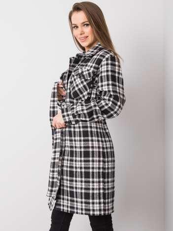 Czarno-biały płaszcz w kratę Raquel