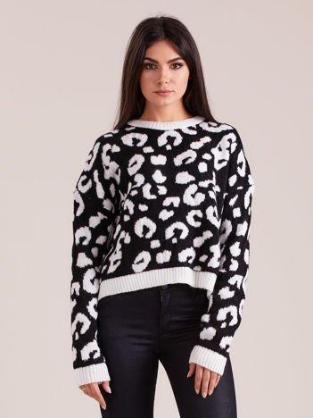 Czarno-biały sweter w cętki