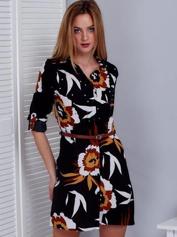 Czarno-brązowa kwiatowa sukienka z perełkami