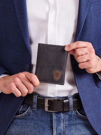 Czarno-brązowy portfel skórzany męski