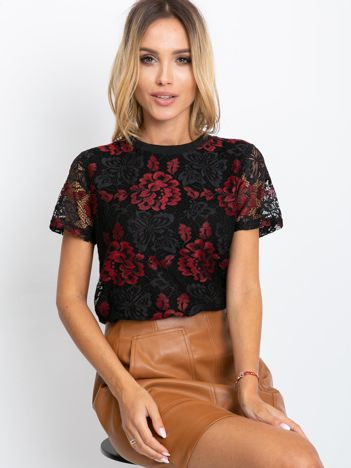 Czarno-czerwona bluzka Mocca