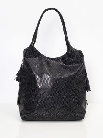 Czarno-granatowa torba z motywem zwierzęcym