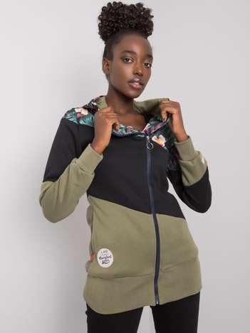 Czarno-khaki rozpinana bluza z kapturem Leah