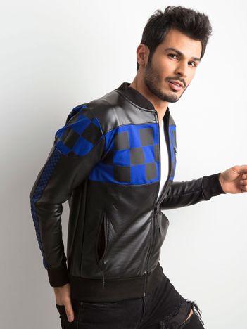 Czarno-niebieska kurtka męska z ekoskóry