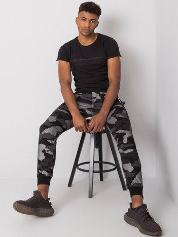 Czarno-srebrne męskie spodnie dresowe Erick