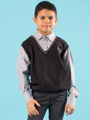 Czarno-szary bezrękawnik chłopięcy z koszulą