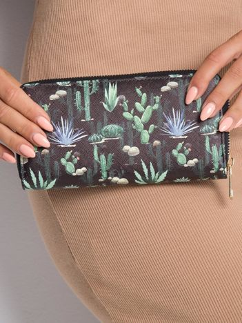 Czarno-zielony portfel z nadrukiem