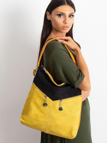 Czarno-żółta torba z łączonych materiałów