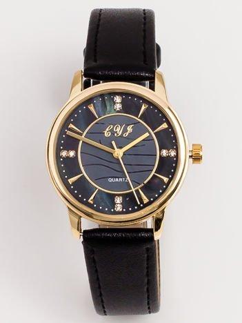 Czarny Mały Zegarek Z Perłową Tarczą i Cyrkoniami