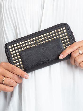 Czarny damski portfel ze skóry ekologicznej