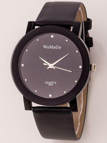 Czarny damski zegarek z cyrkoniami