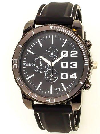 4d63b190097183 Czarny duży zegarek męski na silikonowym wygodnym pasku z białymi wstawkami